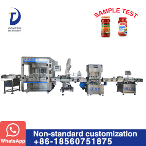 Automatic tomato paste filling capping and labeling production line