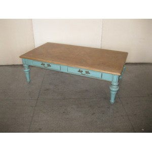 2 DRAWER PARQUET TOP COFFEE TABLE