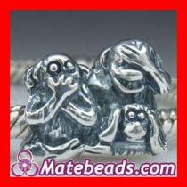 2012 Pandora Sterling Silver Monkey Family Charm Beads