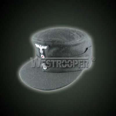 black wool panzer field cap