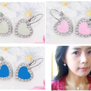 Fashion Rhinestone Glaze Heart Earring E-1007