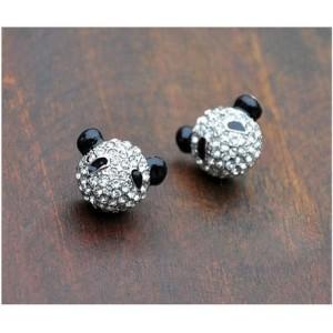 NEW AMAZING Silver Tone Rhinestone Panda Earring E-0628