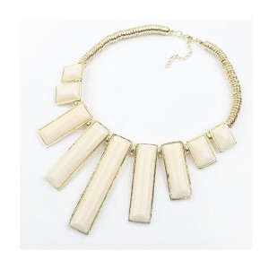 Fashion White Simply Geometry Necklace Pendant N-4512