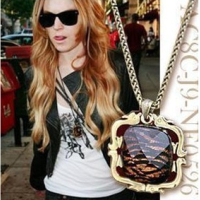 Bronze Tiger Stripe Crystal Pendant Sweater Necklace N-0575