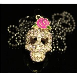 New Rose Colorful Rhinestone Skull Skeleton Necklace earring set E-1089