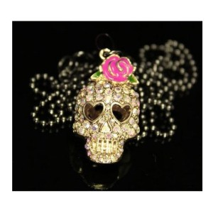 New Rose Colorful Rhinestone Skull Skeleton Necklace earring set E-1089