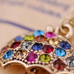 God Plated Colorful Rhinestone Umbrella Pendant Necklace N-2275