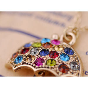God Plated Colorful Rhinestone Umbrella Pendant Necklace N-2275