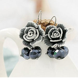 Cute Pectin Rose Flower Crystal Dangle Earring E-0668