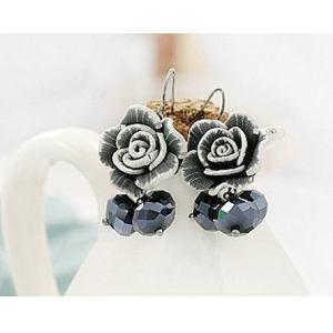 Cute Pectin Rose Flower Crystal Dangle Earring E-0668