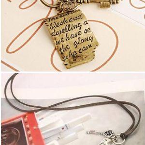 Shakespeare Misshapen Love Letter Cross Key Necklace N-4769