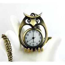 Rhinestone Eye Bronze Owl Quartz Watch Pendant Necklace W-0035