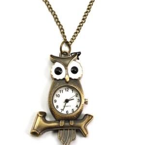 Glazed Eye Bronze Owl Branch Watch Pendant Necklace W-0033