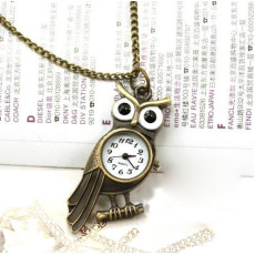 Glazed Eye Bronze Owl Branch Watch Pendant Necklace W-0036-
