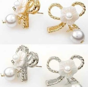 2 Pairs Pearl Flower Silver&Gold Bowknot Ear Stud E-1545
