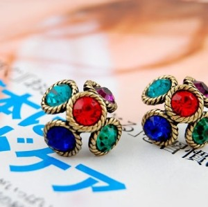 Colorful Rhinestone Bronze Flower Earrings Ear Stud E-1675