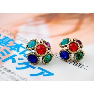 Colorful Rhinestone Bronze Flower Earrings Ear Stud E-1675