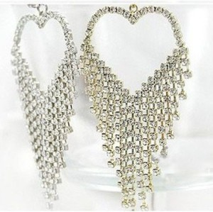 Fashion Ear Stud New Rhinestone Heart Tassel Earrings E-1040