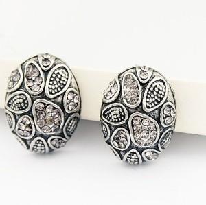 Vintage Style Rhinestone Silver Ear Stud Earring E-1125