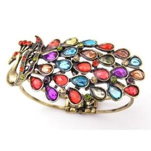 Crystal Tail Feather Peacock Ladies Bronze Bracelet B-0097