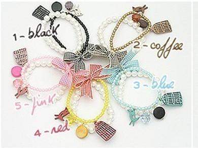 Korean Style Bird Birdcage Bow Pearl Bracelet B-0229