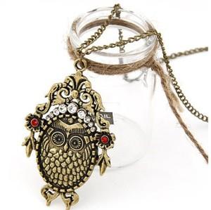Vintage Style Bronze Flower Rhinestone Owl Circle Pendant Necklace N-2532