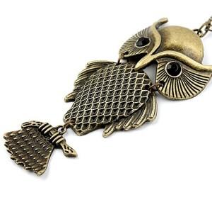 Vintage Style Black Eye Owl Pendant Necklace N-2526