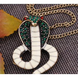 Green Rhinestone White Glazed Bronze Cobra Snake Pendant Necklace N-4018