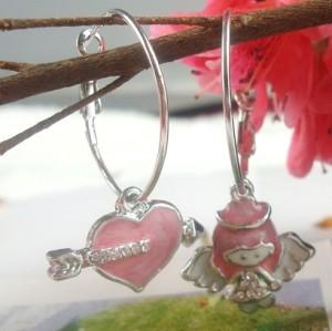 Cute Rhinestone Arrow Heart Wing Hoop Earring E-1034