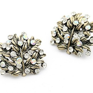 Vintage Style Colorful Rhinestone Leaf Ear Stud E-0582