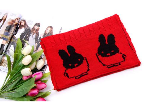 C-0082  Fashion 10 Colors wool knitting Hemp flowers pattern Lovely rabbit scarf