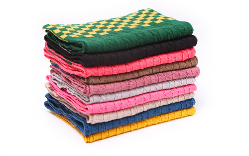Fashion 8 Colors wool knitting Hemp flowers pattern latticework scarf  C-0034