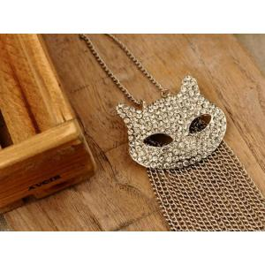 silver plated  clear rhinestone cat head pin brooch pendant Necklace S-0063-N  S-0063-B