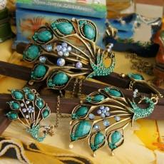 Vintage Style Bronze green rhinestone Resin Peacock Necklace Bracelet SET  S-0029