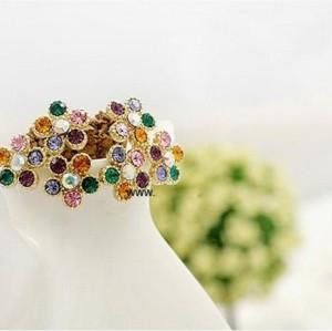 Colorful Crystal Rhinestone Flower Ear Stud Gold E-0536
