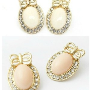 Gold Bowknot Big Gem Rhinestone Ear Stud Earrings  E-1676
