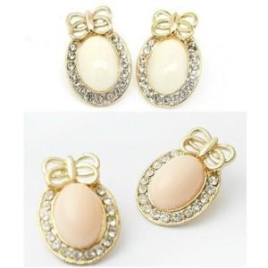 Gold Bowknot Big Gem Rhinestone Ear Stud Earrings  E-1676