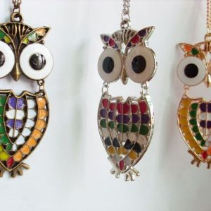 Color Optional Colorful Glazed Owl Pendant Necklace N-2529