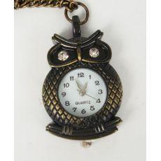 Rhinestone Eye Bronze Owl Branch Watch Pendant Necklace W-0035