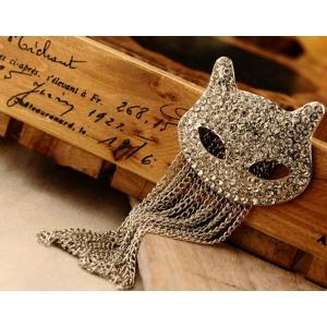 silver plated  clear rhinestone cat head pin brooch pendant S-0063