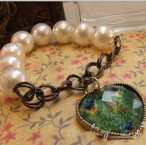 Vintage Style Pearl Chain Peacock Heart bracelet B-0235