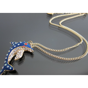 New Coming Gold Plated Rhinestone Dark blue Glazed  dolphin Necklace Earring Set