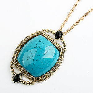 Korea Style Gold Plated Big Green Gem Pendant Necklace N-0768