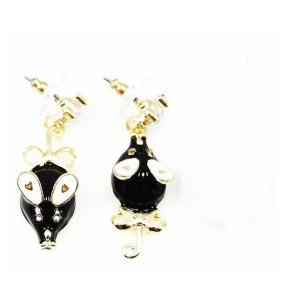 Pair Clear Rhinestone Gold Plated Black Glazed Mouse Ear Stud Earring E-0641