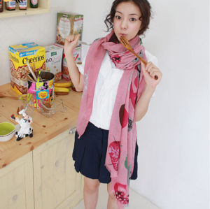 New Style 5 color Fruit vegetable heart Leaf Scarf C-0017
