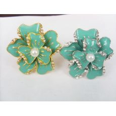 New Coming Rhinestone Gold&Silver Plated White&Black Glazed Flower Ring Size Adjustable  R-0622