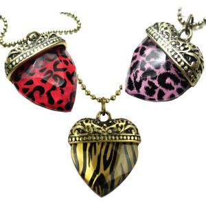 3colors3 pieces Vintage Style leopard heart pendant necklace N-4843