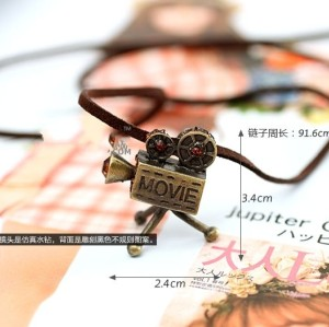 leather chain brown rhinestone projector pendant necklace N-4798-B
