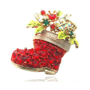 Colorful Red Rhinestone Christmas stocking Gift Pin Brooch P-0090