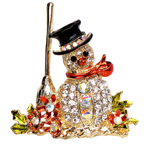 Colorful Flower broom snowman Pin Brooch P-0085